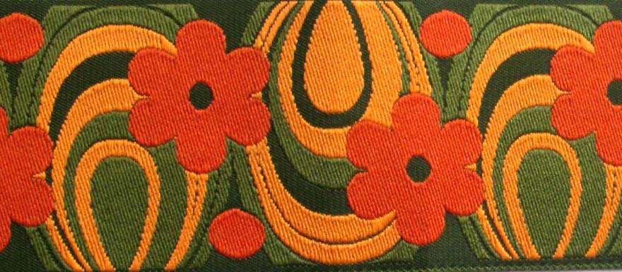 "FLOWER POWER44  1 7/8"" (3 YDs)  OLIVE/SAGE/ORANG"