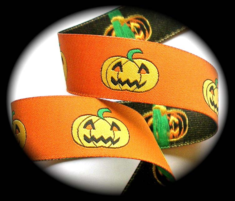 "HALLOWEEN PUMPKINS 5/8"" (25 YDS)ORANGE/GREEN DAMASK"