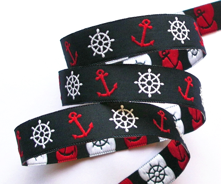 "NAUTICAL 5/8"" (3 YDS) NAVY/RED/WHITE  NAUTICAL ANCHORS/WHEELS"