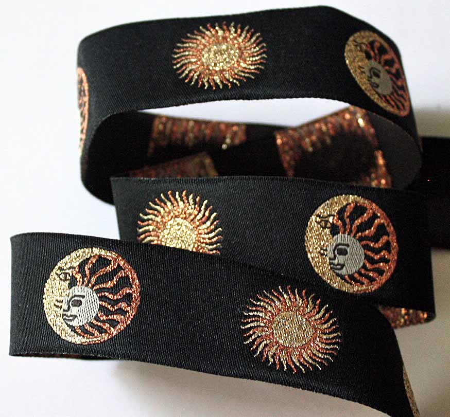"Metallic Sun/Moon 1"" x 3 yards Black, Copper, Gold"