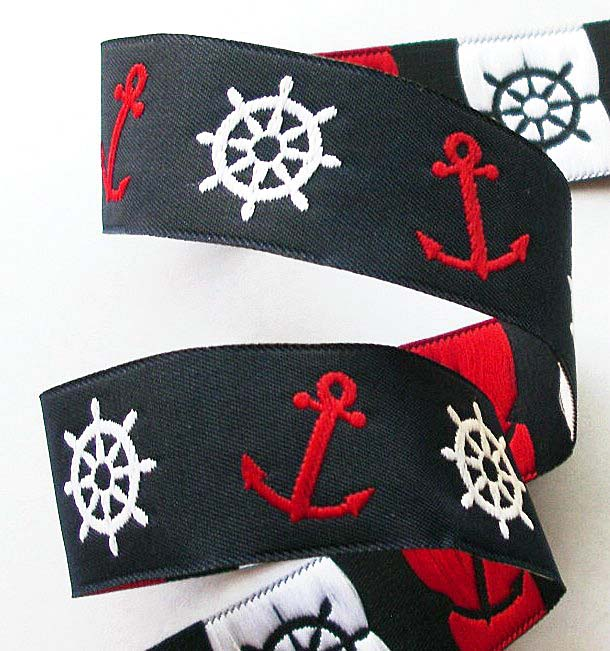 "NAUTICAL12 1"" (3 yds)NAVY/RED/WHITE  NAUTICAL ANCHORS/WHEELS"
