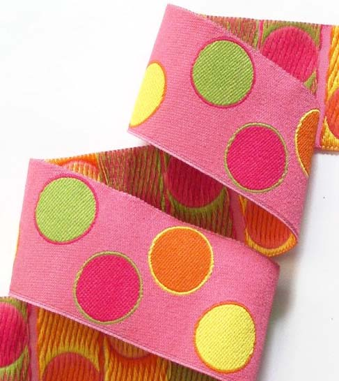 "PAISLEYDOT27  1 1/2"" (3 YDS)  PINK/ORANGE/YELLOW"