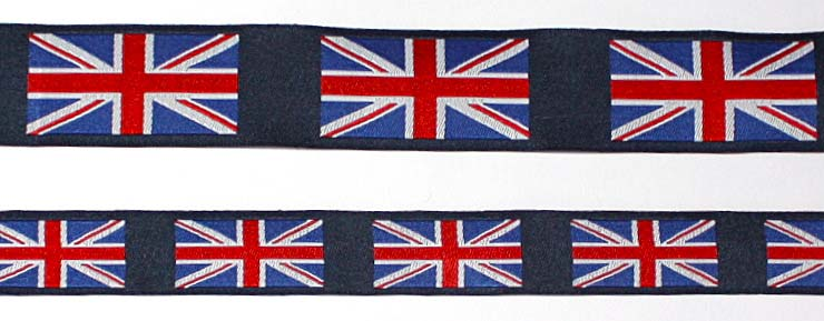 "Union Jack Flags3aa 1"" x 25 yds Navy, Red, White Back in"