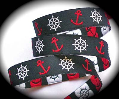 "NAUTICAL1 - 5/8"" (3 YDS) NAVY/RED/WHITE  NAUTICAL ANCHORS/WHEELS"