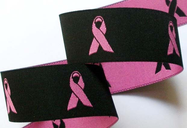 "BREAST CANCER 1"" (10YDS)BLACK/PINK- Back in Stock"