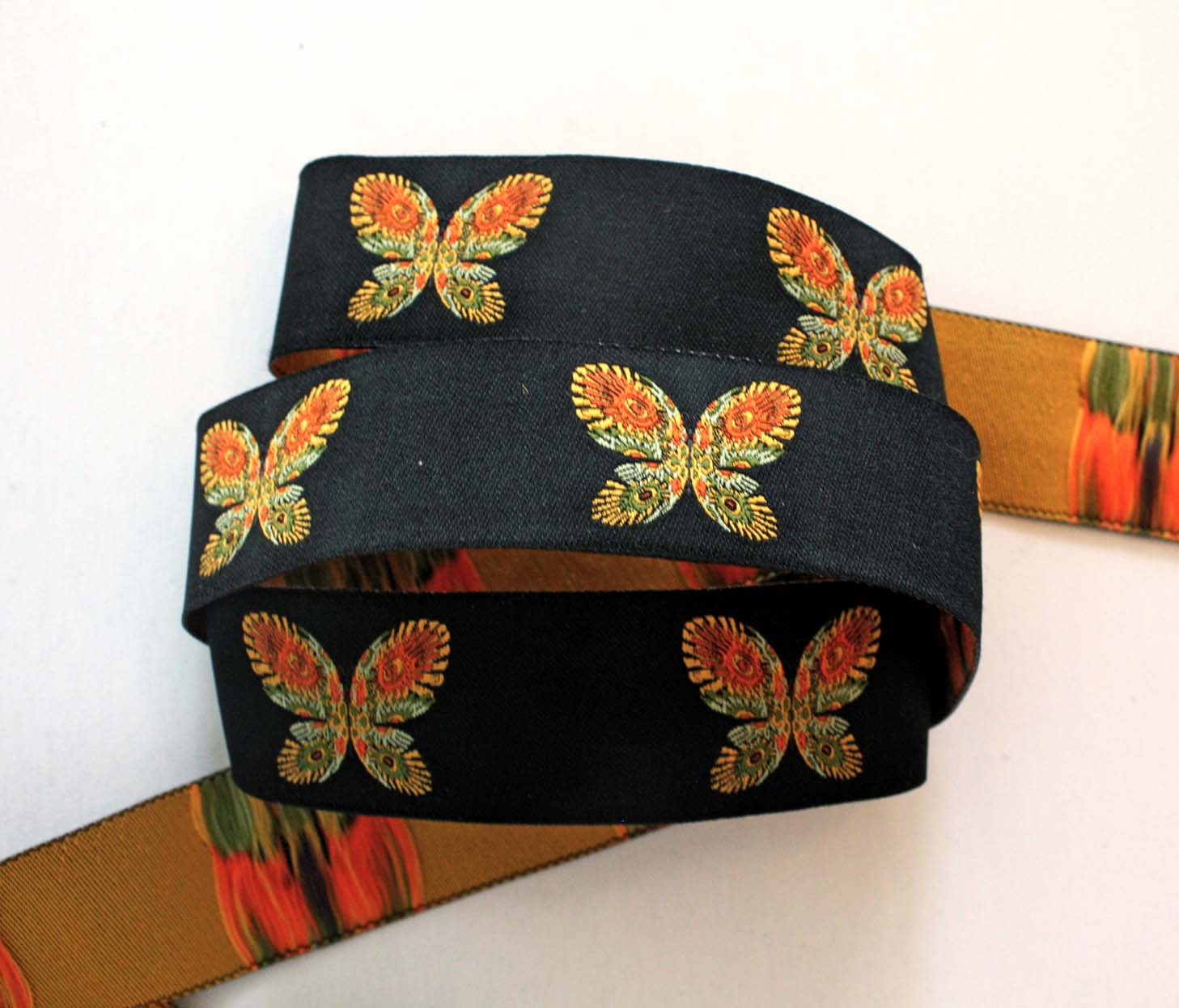 "Butterfly2015 Ribbon 1"" x 3 yards Black, Orange, Green & Yellow"