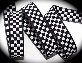 "CHECKERBOARD - 5/8"" WOVEN BLACK/WHITE (3 YDS)"