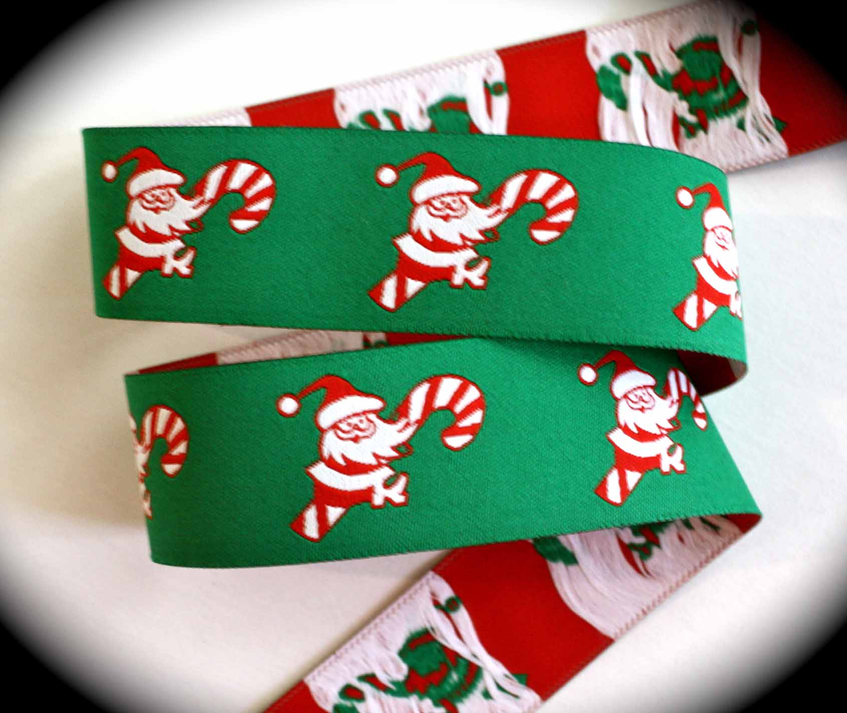 "Christmas Ribbon SantaA 1"" x 25 yards Santa on Candy Cane"