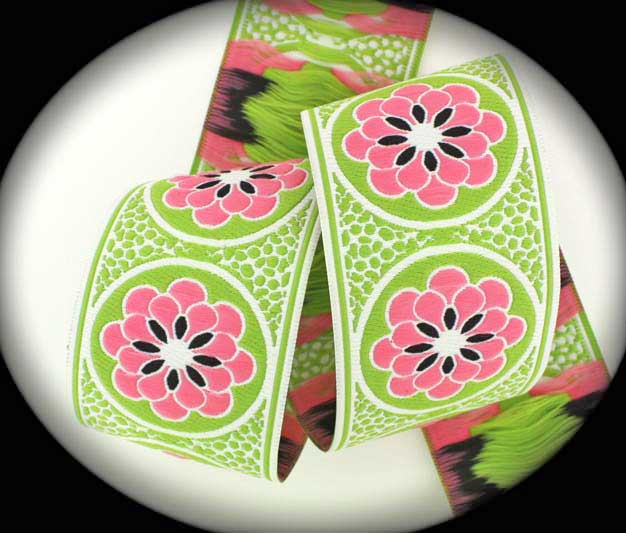 "Daisy Dot Flower2224AA 1 7/8"" x 5 yds White, Lime, Pink Zinnia"