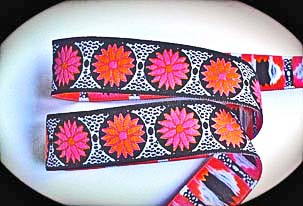 "DAISY DOT FLOWER15 - 1"" Blk, White, Pink and Orange(3 yds)"