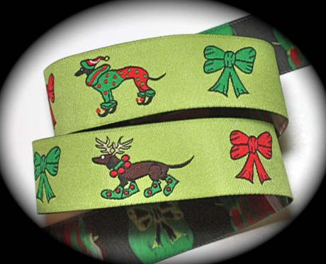 "Dog ChristmasA - 1"" LIME/GREEN/RED (25 YDS)"