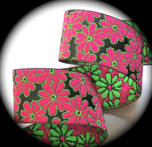 "DOTFLOWER2A 1 1/2"" (10 yds)  BLACK/H.PINK/LIME DOTS"