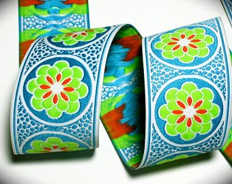 "Daisy Dot Flower 1 7/8"" x 3 yes Turquoise, Orange, Lime"