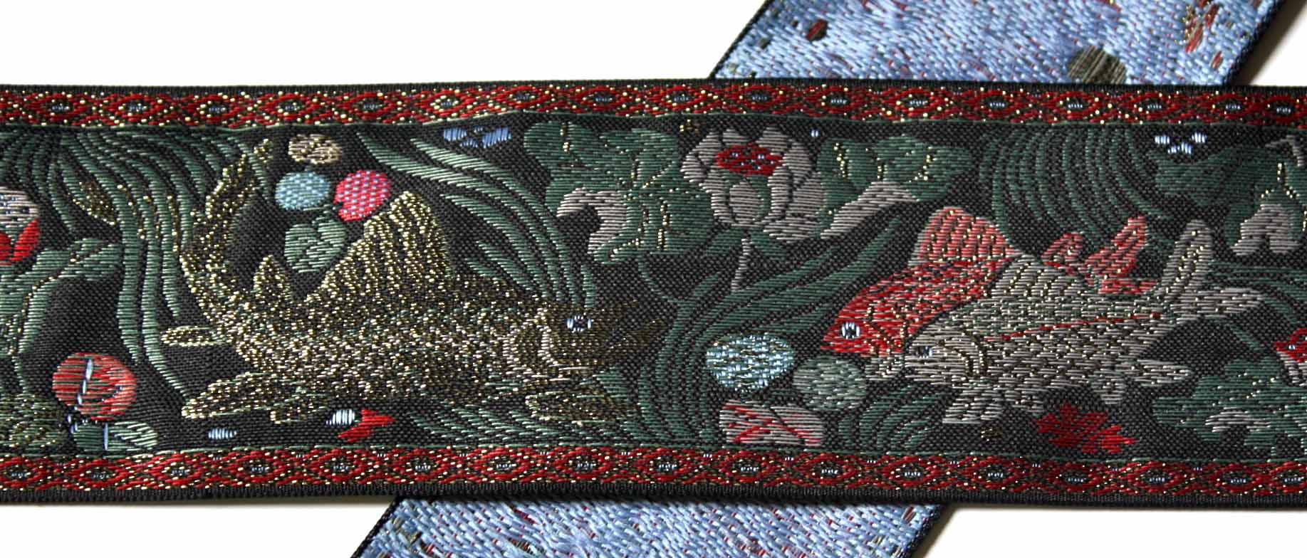 "Asian Koi Woven Jacquard 2"" x 1 y Antique Gold, Silver Red etc."