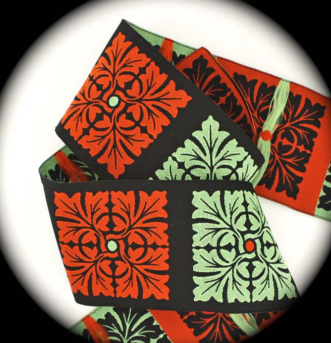 "Beautiful Squares10 1 7'8"" x 3 yd Blk, Green,Orange/Rust"