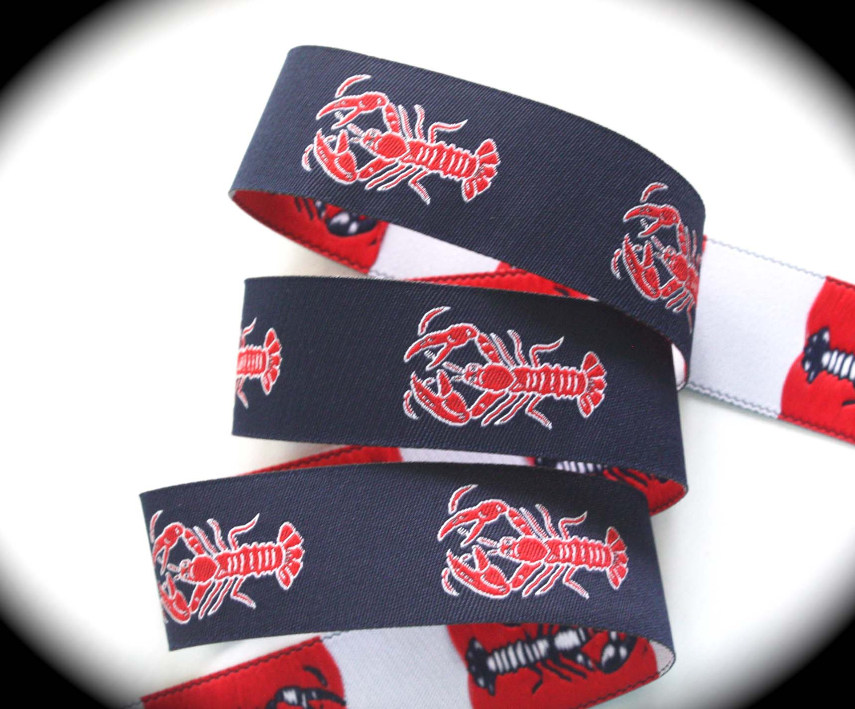 "Lobster2015A 1"" x 25 yards Navy, Red and White"