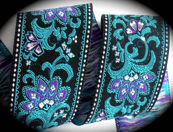 "Leaf and Flower -1 7/8"" Blk, Blue, Orchid (3 yds) Back In Stock"