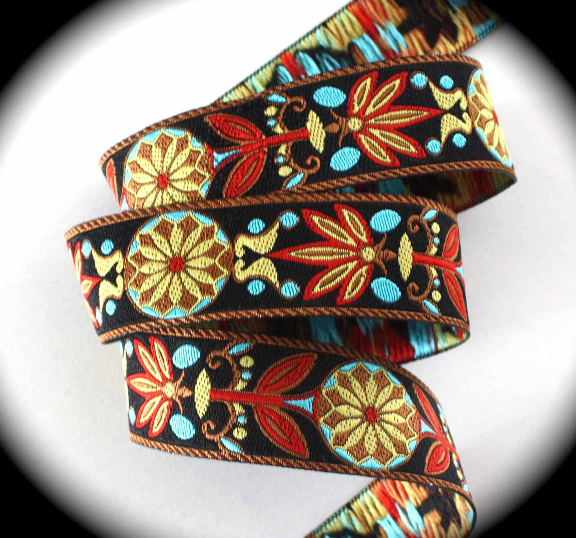 "MP888X 1"" (25 yds) Mixed Pinwheel Black, Brown, Red, Turquoise"