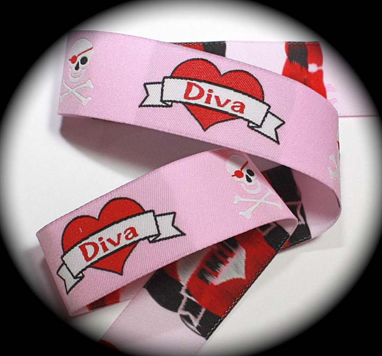 "SKULL, DIVA1ASALE 1""x 25 yds Pink, Red, White SALE"