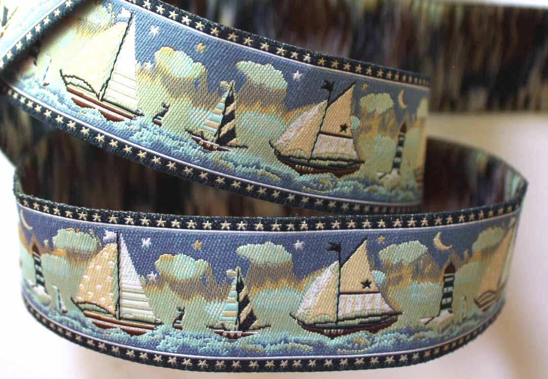 "SAIL BOAT2 1"" x 3 yards High Definition Blues and Tans"