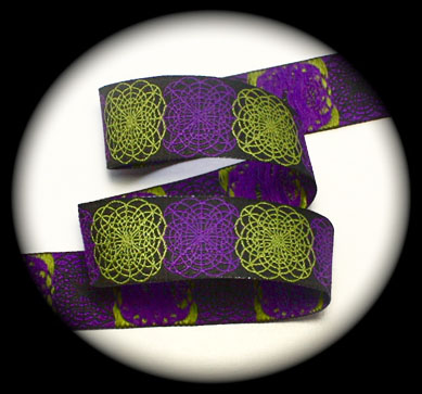 "Spiral Doodle3a 1"" x 25 yards Black, Purple and Lime"
