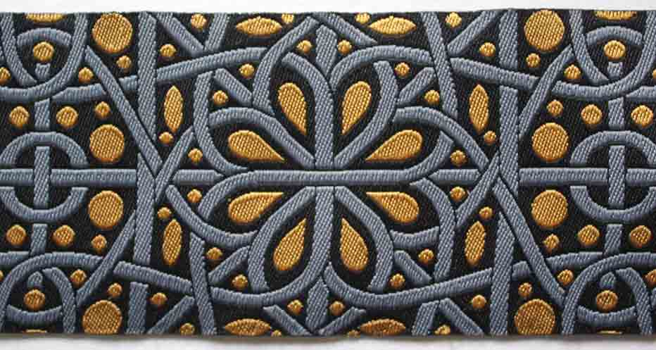 "Hidden Gems 9106 1 7/8"" x 3 yards Black, Gray and Gold"