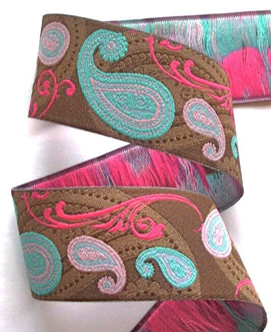 "PAISLEY8BBB 1 1/2"" (10 yds) BROWN/PINK/BLUE"