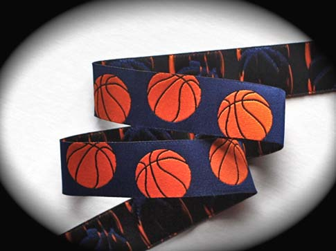 "Basketball Ribbon 1"" x 25 yds Navy and Orange"